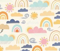 Sunshine and Showers Jumbo - Rainbow Wallpaper - Sunshine Home Decor -Cloud Curtains - Bedding