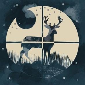 Deer Hunter Target on Marine Blue Green and Tan