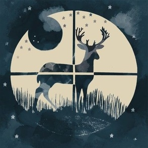 Deer Hunter Target on Marine Blue Green and Tan, 8 inch block