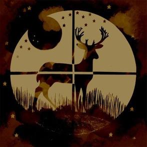 Deer Hunter Target on Dark Red and Cream Camo, 8 inch block