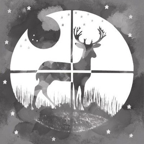Deer Hunter Target on Black and White Gray Camo, 8 inch block