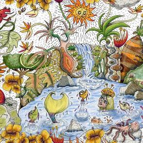 another sunny day in paradise!  Jumbo large scale, colorful red orange yellow green blue indigo violet black white rainbow ocean sun waterfall