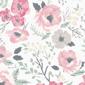 Large Scale Soft Pink Meadow Floral - 25in repeat