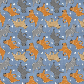 Trotting smooth coat Chow Chow and paw prints - faux denim