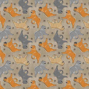 Trotting smooth coat Chow Chow and paw prints - faux linen