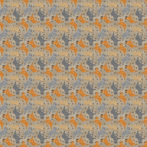 Tiny Trotting smooth coat Chow Chow and paw prints - faux linen