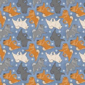 Trotting Chow Chow and paw prints - faux denim