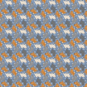 Tiny Trotting Chow Chow and paw prints - faux denim