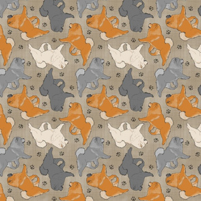 Trotting Chow Chow and paw prints - faux linen