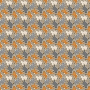 Tiny Trotting Chow Chow and paw prints - faux linen