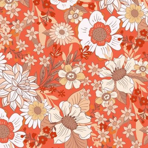 Wild Meadow Flowers Retro Red by Jac Slade