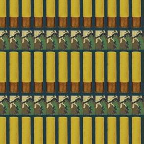 Yellow Hunting Shotgun Shells on Camo on Hunter Green