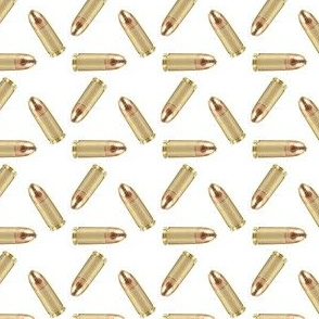 Brass 9mm Hunting Ammo on White