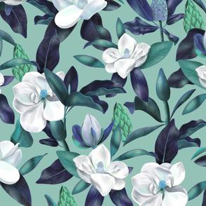 Magnolias Pattern light green