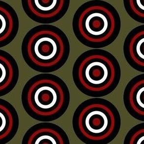 Bullseye on Dark Khaki Green, Hunting Target Circles