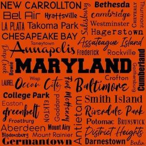 Maryland cities, orange - version 2