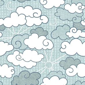 Textured Clouds in grey-teal