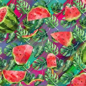 small watermelon monstera on multicolor diagonal stripes FLWRHT