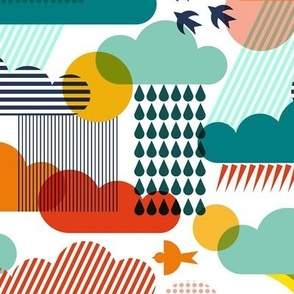Weather conditions in illustrations and bright colors