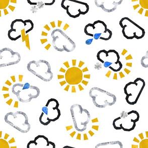 Scattered weather forecast symbols
