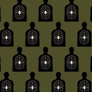 Black Bullseye on Dark Khaki Green, Hunting Target Circles