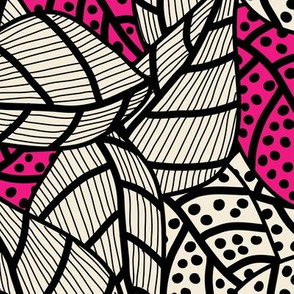 20210517 Leafs in black, off-white and pink