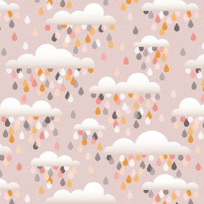 clouds an drops - grey and pink small
