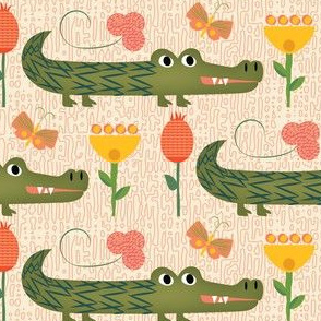 Ally the alligator Pink Linen