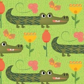 Ally the alligator Lime Green Linen-01