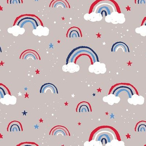 Happy fourth of July celebrations sweet american rainbows stripes and stars and clouds in traditional USA national holiday colors red blue on beige