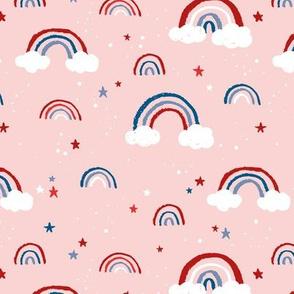 Happy fourth of July celebrations sweet american rainbows stripes and stars and clouds in traditional USA national holiday colors red blue on pink