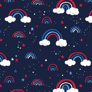 Happy fourth of July celebrations sweet american rainbows stripes and stars and clouds in traditional USA national holiday colors red blue on navy blue