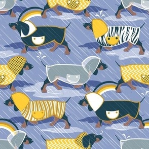 April showers frenzy // normal scale // indigo blue background navy blue dachshunds dogs with yellow and transparent rain coats
