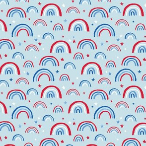 Little American rainbows and stars fourth of july usa celebration traditional red blue on light blue