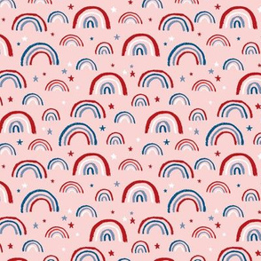 Little American rainbows and stars fourth of july usa celebration traditional red blue on light pink