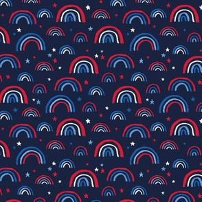 Little American rainbows and stars fourth of july usa celebration traditional red blue on navy blue