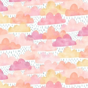 Watercolor Cotton Candy Clouds and Raindrops - medium