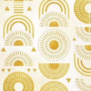 Boho Sunshine Medium- Yellow on Off White Background- Bohemian Mid Century Sun- Mid Mod Sunburst- Summer- Goldenrod Yellow- Dandelion- Sunflower- Rainbow- Linen Texture- Large Scale- Home Decor- Wallpaper