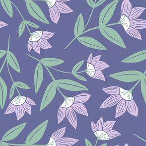 Moon Flowers, Purple and Green, Large