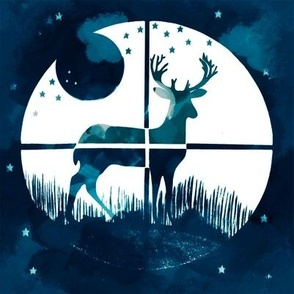 Deer Hunter Target Blue and White Camo