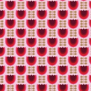 mod red flowers-tulips-small scale-midcentury