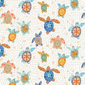 turtle race mosaic coral