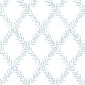 custom Erin Leafy Trellis light blue leafy trellsi on white