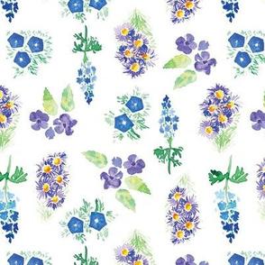 Blue watercolor floral garden - small