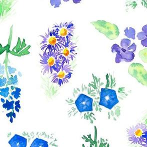 Blue watercolor floral garden - large