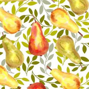 Fresh Pears On Tree Leaves