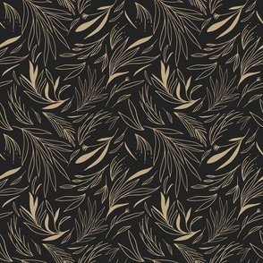 Ethereal Leaves in Black and Gold