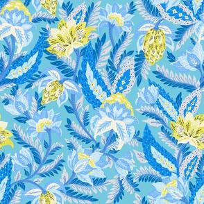 Boho Chintz Yellow Blue by Jac Slade