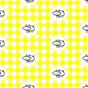 Hippos on Yellow Gingham
