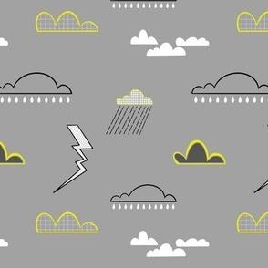Thunder Clouds & Lightning Bolts Grey